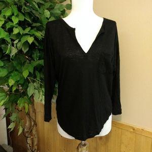 Madewell basic black v-neck 3/4 length sleeve top